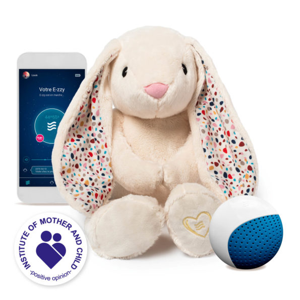 Le lapinou apaisant (Blanc/Ecru) E-zzy avec une application et un détecteur de pleurs CRYsensor