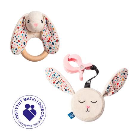 Szumiący Mini Zestaw Felcia dla noworodka (zawieszka i gryzak)